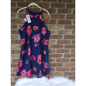 Navy Floral Lightweight Dress